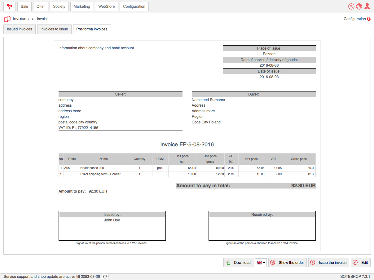 invoices select pro forma invoices edit an invoice